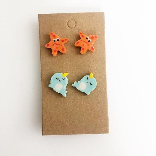 Star Fish & Narwhal Stud Earrings Set