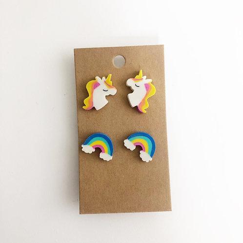 Unicorn & Rainbow Stud Earrings Set