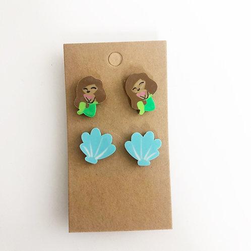 Mermaid & Seashell Stud Earring Set