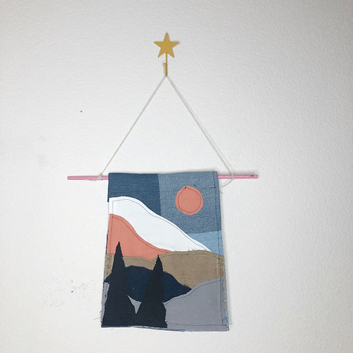 Reclaimed Denim Forest Mountains Tapestry