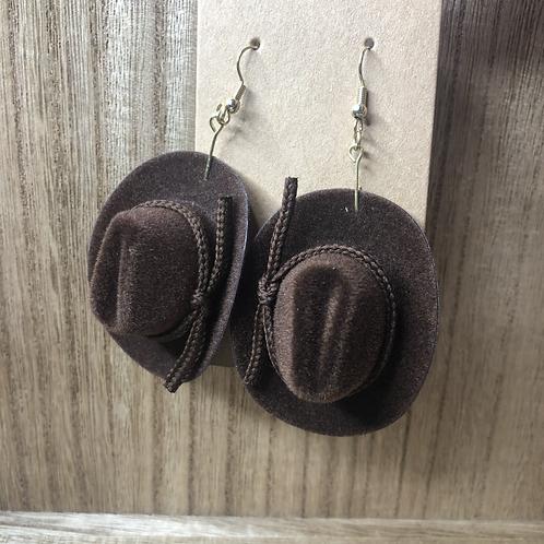 Brown Cowboy Hat Earrings