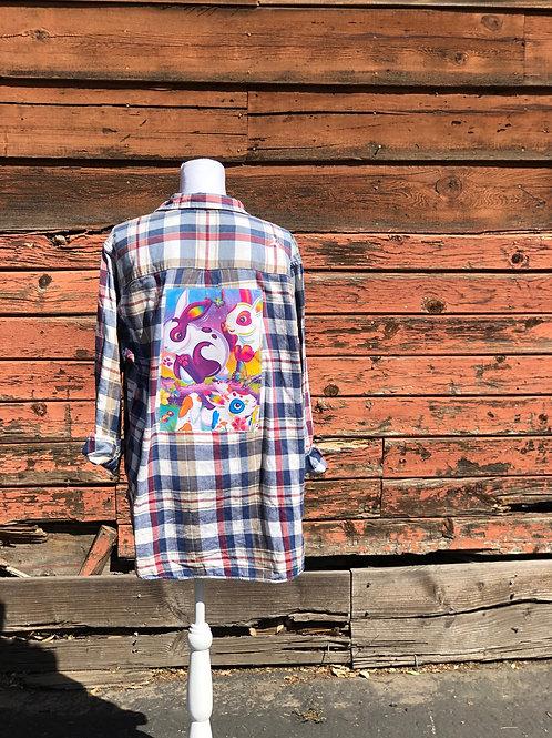 Lisa Frank Inspired Flannel: Painter Bunnies