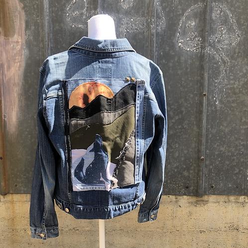 Reclaimed Denim Jacket: Howling Wolf