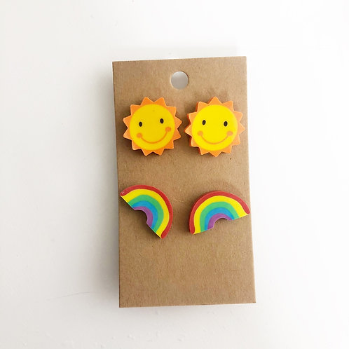 Sun & Rainbow Stud Earrings Set