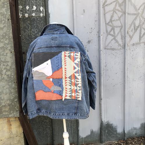 Reclaimed Denim Jacket: Scattered Sunset