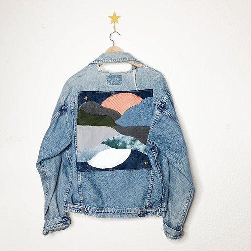 Dueling Sunsets Collage Jean Jacket