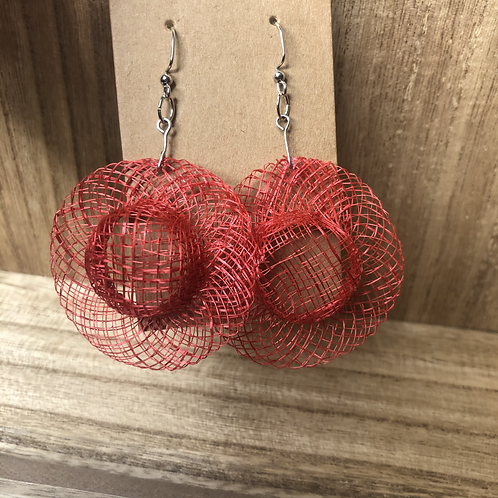 Red Summer Hat Earrings