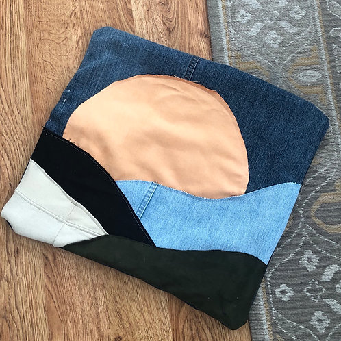 Reclaimed Denim Mountain Sunset Pillow