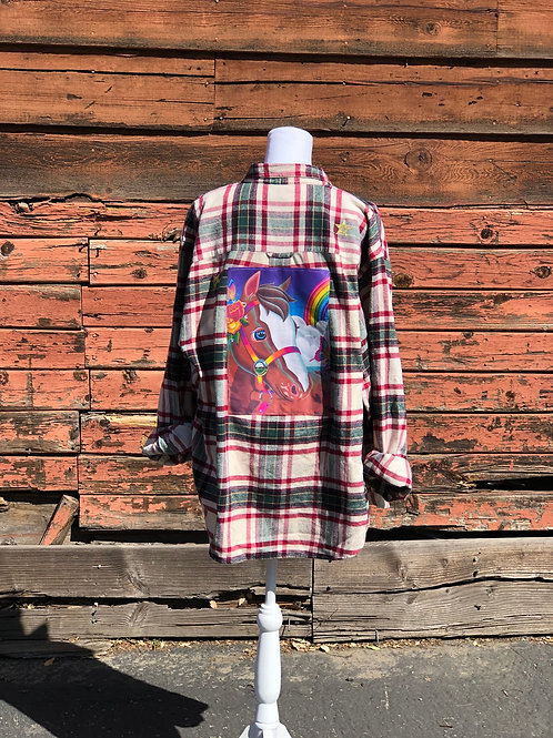 Lisa Frank Inspired Flannel: Brown Pony