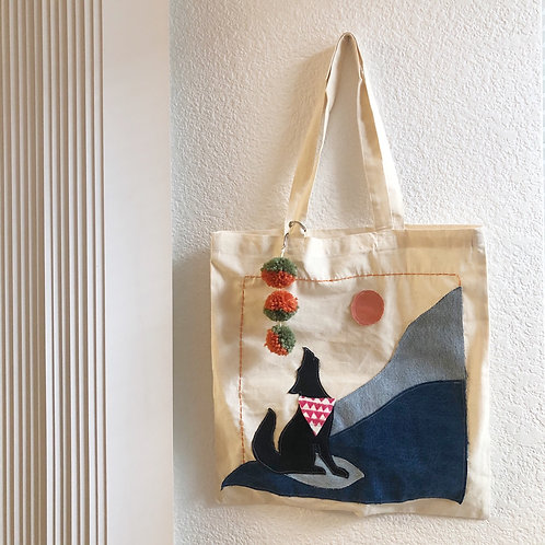 Reclaimed Denim Howling Coyote Tote