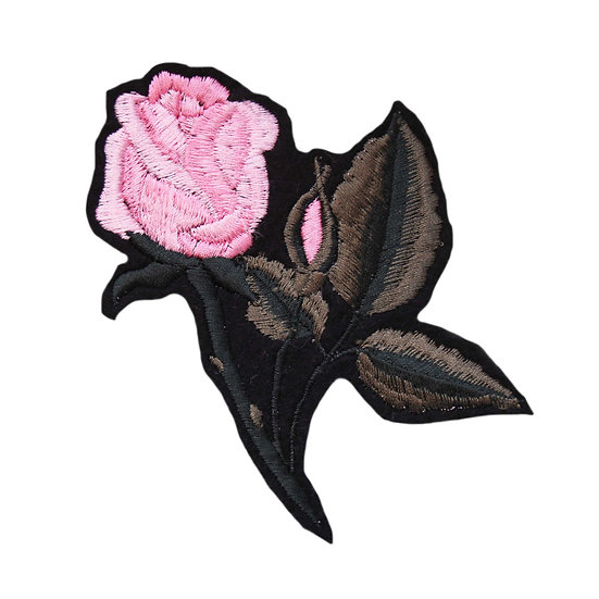 a pink embroidered rose patch
