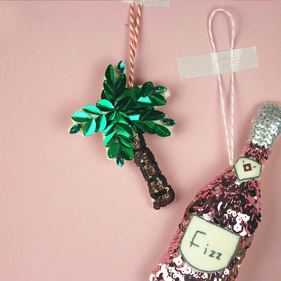 Perfect Palm Tree Sequin Hanging Ornament