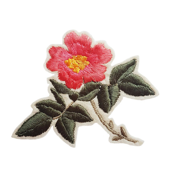 embroidered pink dog rose patch