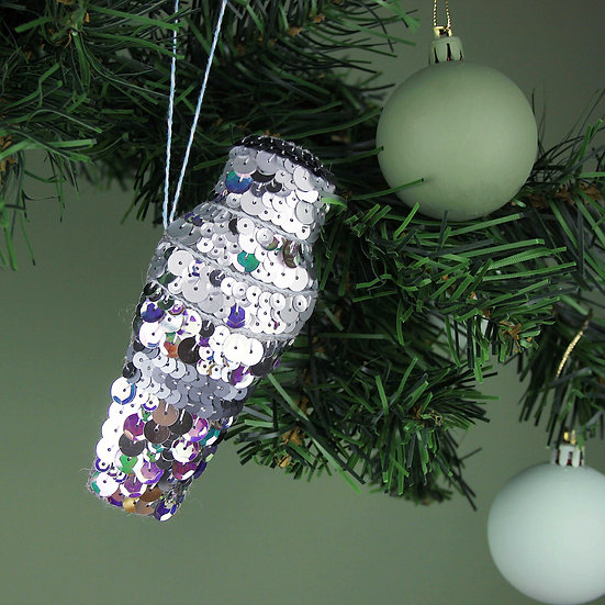 Classic Cocktail Shaker Sequin Hanging Ornament