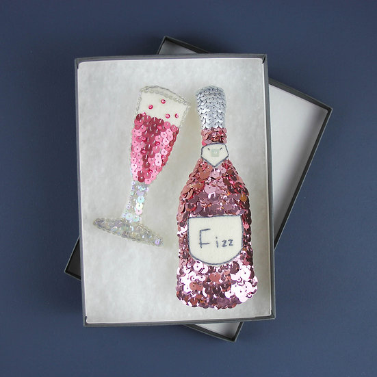 Pink Fizz Sequin Ornament Set