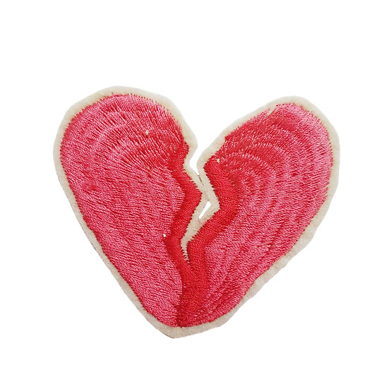 embroidered broken heart in pink and red