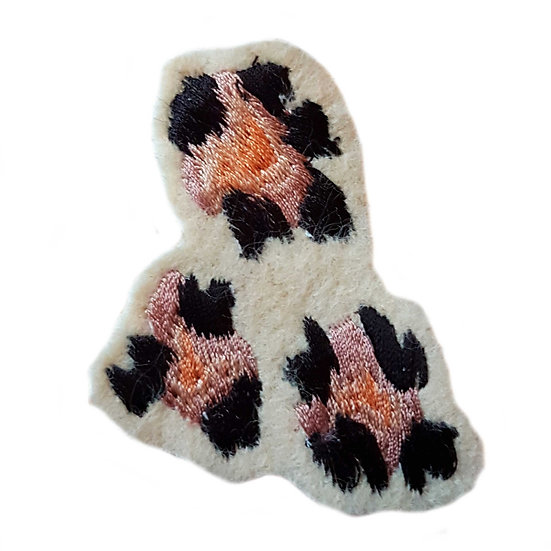 embroidered natural leopard print motif sew on patch