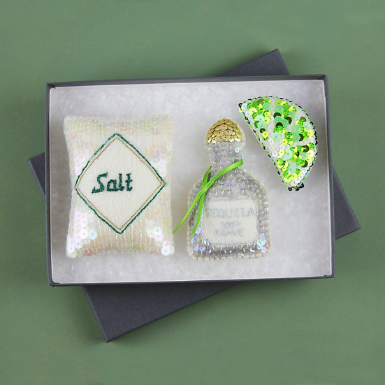 Just Add Salt Tequila and Lime Sequin Ornament Set