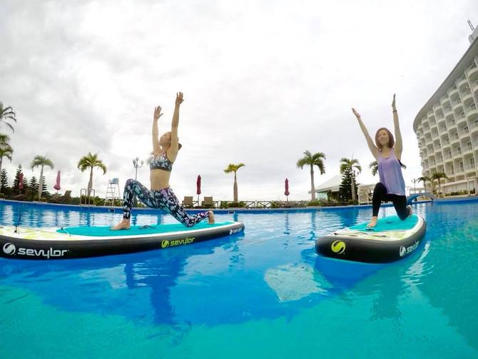 沖縄かりゆしビーチリゾートオーシャンスパでのモーニングサップヨガです!