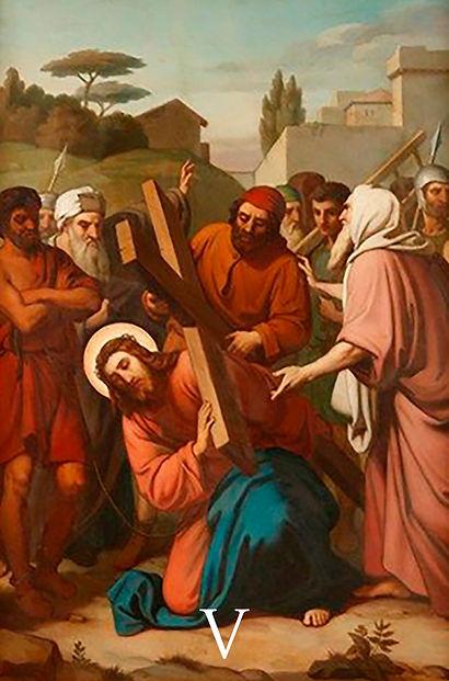 V - Simão de Cirene ajuda Jesus a levar