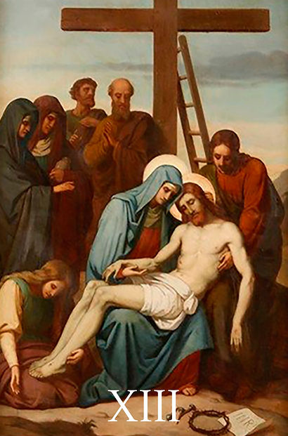 XIII - O corpo de Jesus é depositado nos
