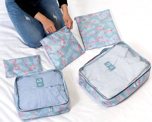6 in 1 Travel Luggage Cubes Set in Flamingo