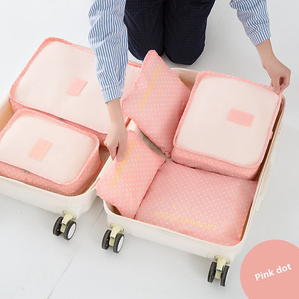 6-Pcs Luggage Packing Cubes in Polka Dots