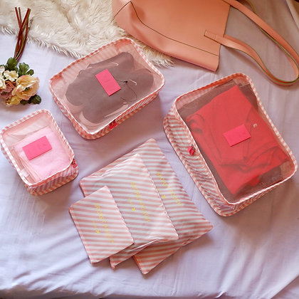 6 in 1 Travel Luggage Cubes Set in Pink Stripes