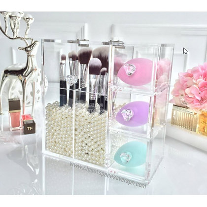 Acrylic Makeup Brush Holder with Drawers - Large