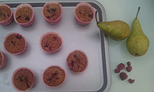Spelt muffins ,pear, coconut and raspberry