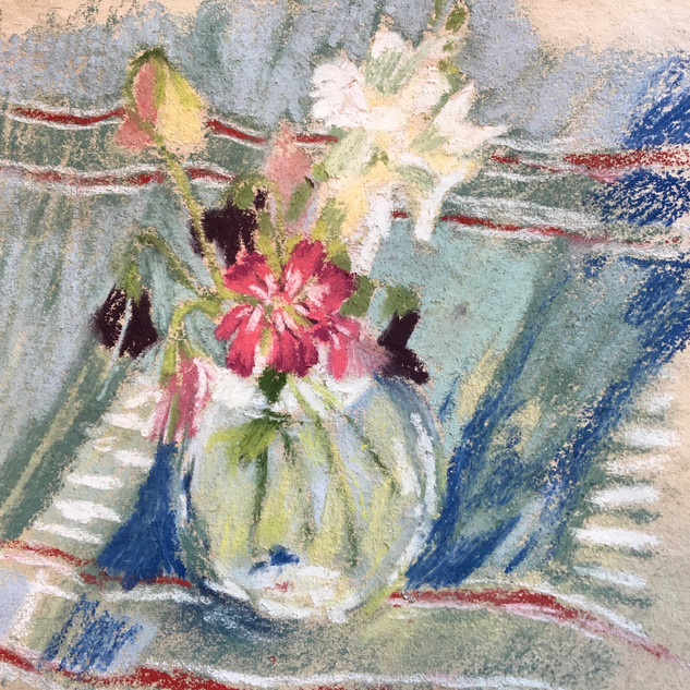 flowers on blue check cloth