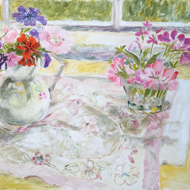pelargoniums and geraniums on patterned cloth