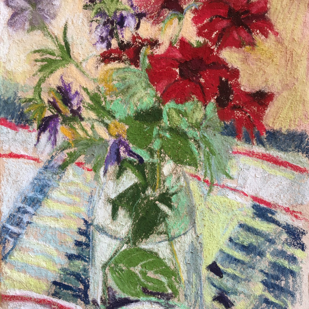 flowers on check cloth 2.
