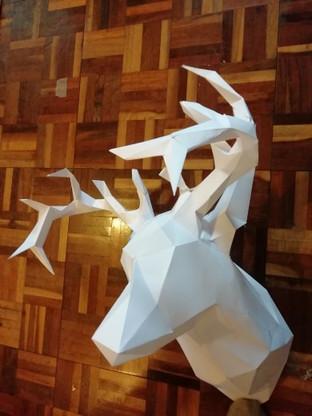 Geometric paper deer head