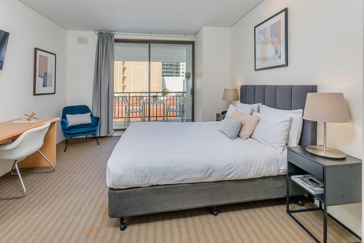 Master bedroom workdesk balcony - Short Term Rental Perth CBD