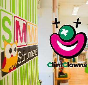 We greatly value the work of CliniClowns Austria and are therefore extremely proud to be their official partner! In our shops you have the opportunity to donate directly on-site to CliniClowns. Help us to bring a smile to the faces of severely ill children! © SMW-Schuhhaus