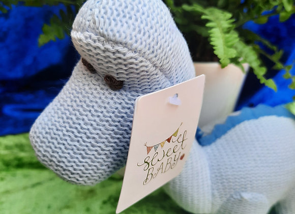 Knitted Diplodocus Rattle Toy - Pastel Blue