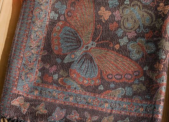Vintage Butterfly & Tassel Pashmina Scarf - Black Mix
