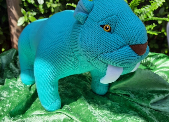 Knitted Sabre Tooth Tiger Soft Toy - Turquoise