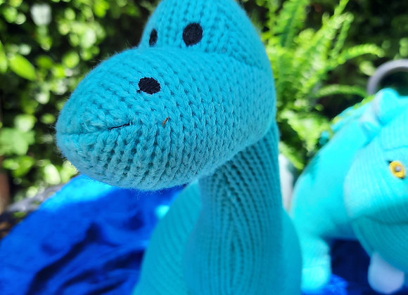 Knitted Ice Blue Diplodocus Dinosaur Toy