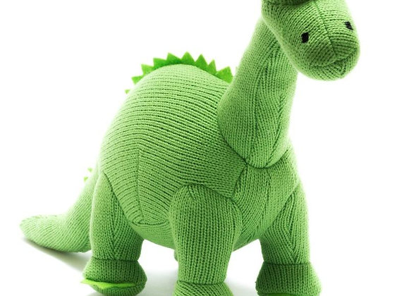 Knitted Diplodocus Rattle Toy - Green