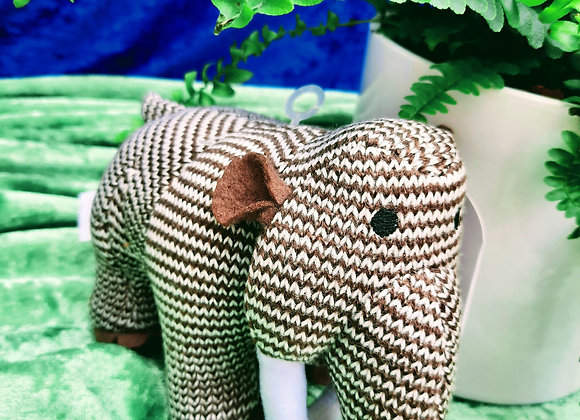 Knitted Bright Stripe Wooly Mammoth Dinosaur Toy
