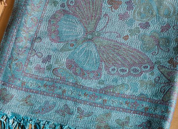 Vintage Butterfly & Tassel Pashmina Scarf - Neon Blue