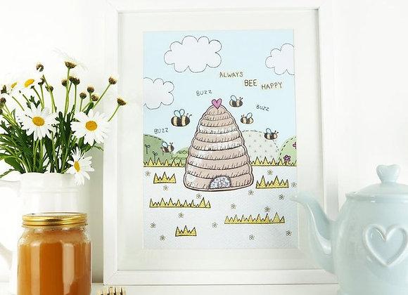 Always Bee Happy A4 Print
