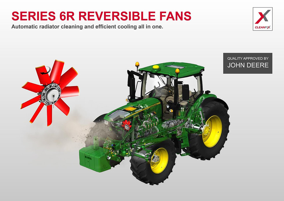 John Deere Cleanfix reversible fans advertiment