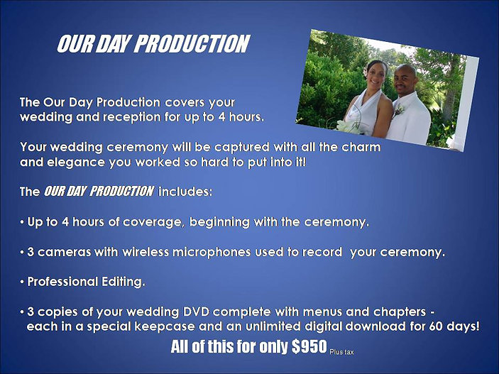 Our Day Wedding Production 2020 Website