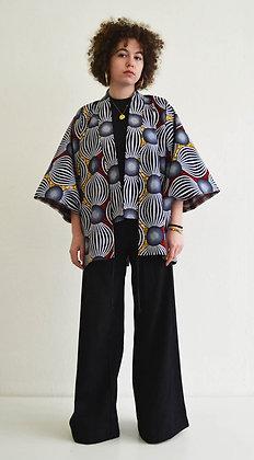 Veste kimono imprimée Globe