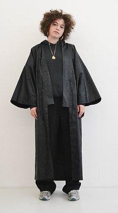 Manteau kimono Bazin noir graphique