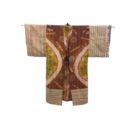 Manteau kimono Kantha de soie Sun