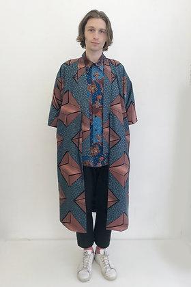 Manteau kimono  imprimé Diamant Rose et gris